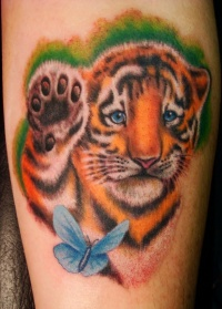 Tiger color tattoo and butterfly