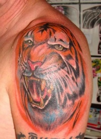 Tiger color tattoo large
