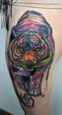 Tiger tattoo  in modern style
