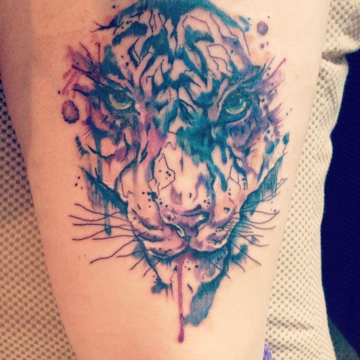 Water Color Tiger Head Tattoo  Tattooimagesbiz