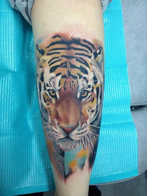Tiger Watercolor Tattoo Watercolor Style Tiger